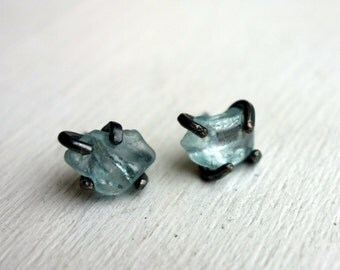 Raw Sky Blue Tourmaline Studs in Heavy Oxidized Black Sterling Silver Handmade Prongs
