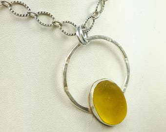 Sea Glass Jewelry Yellow Sea Glass Necklace Yellow Sea Glass Bezel Pendant Sea Glass Jewelry N-535