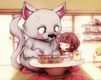 Let's Have Lunch - 5 x 7 Print - kawaii cute lunch ramen cat girl nursery art illustration design apartment design anime manga big eyes