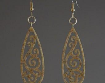 Oatmeal Beige Earrings Upcycled Corian Teardrop Filigree Earrings Dangle Drop Earrings - Handmade Recycled Earrings - Gift for Her