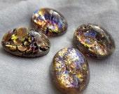 ON SALE 40% Off Light Amethyst Harlequin Glass Opal 14x10mm Oval Cabochons 4 Pcs