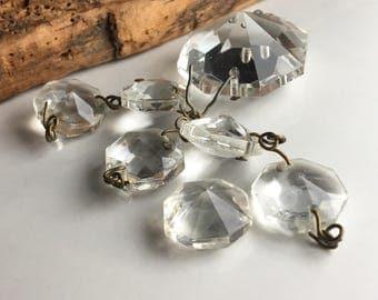 Vintage Glass, Vintage Chandelier Glass, Faceted Glass, 1930's Glass, Etsy, Etsy Vintage, Etsy Jewelry, Jewelry Supplies,