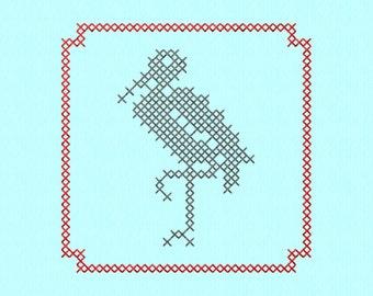 Cross Stitch style Stork block Machine Embroidery Design File