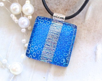 Blue Necklace, Dichroic Glass Pendant, Fused Jewelry, Necklace Included, One of a Kind, A13