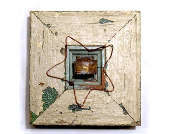Heart Art - Wish Upon a Star - Original Mixed Media Assemblage - Architectural Salvage Wood Collage - Heart Wall Art - Wedding Art