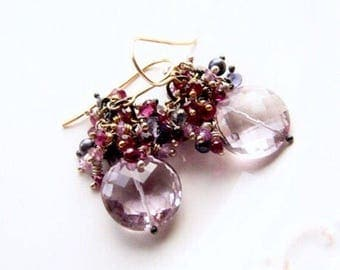 Pink Amethyst Coins Akoya Pearls  Iolite Rhodolite Garnet Lavender Sapphires Mixed Metal Earrings