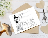 0312 JLMould Once Upon a Time Rapunzel Tower Fairytale Fairy Wedding Tale Return Address Custom Personalized Rubber Stamp