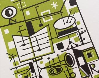 JAZZ Geometric Illustration music stand trumpet by JD King Hand Printed Letterpress Archival Print 8x10