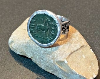 Statement Ring , Ancient Greek Coin and Sterling Silver Ring, ancient coin jewelry, Aries horoscope ring, Goat coin ring