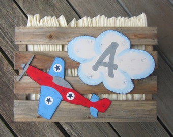 AIRPLANE Nursery Pallet Wood Storage Crate - Original Hand Painted Hand Crafted - Diaper Storage - Wall Mount Option