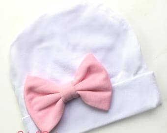 Newborn Hat | Baby Girl Hat | Hospital Hat | Newborn Hospital Hat PINK Bow | Baby Girl Beanie Baby K Designs TOP SELLING More Colors 2 size