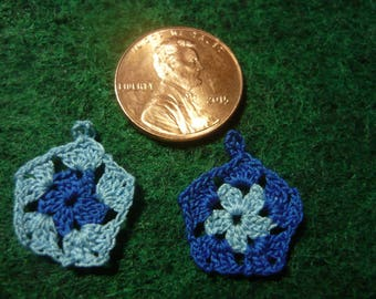 5 Sided Granny Square Potholders Miniature Light Blue and Dark Blue Hand Crocheted  1-12 scale for doll house printers drawer kitchen