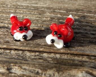 Foxy Pair of Fox beads,  Lampwork Bead Pair, Simply Lampwork by Nancy Gant, SRA G55
