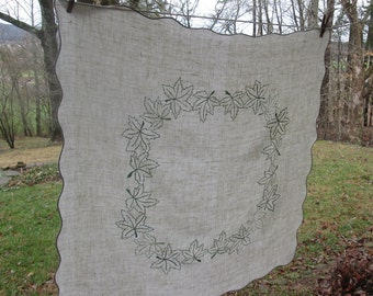Small Linen Tablecloth - Creamy White With Green Leaves - Spring Decor Tablecloth