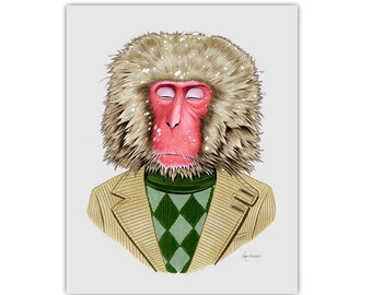 Snow Monkey print - Macaque Monkey - animal print - modern kid art - modern nursery - animals in clothes - Ryan Berkley 5x7
