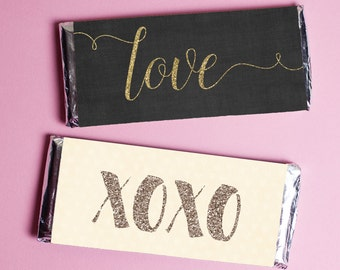 Valentine candy bar wrappers, glitter style printable chocolate bar wrappers for Valentine's Day, instant download