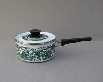 Blue Paisley 1 Quart Pot with Lid Porcelain Enamel Gourmet Cookware El Coronado Nasco Spain Vintage Kitchenware