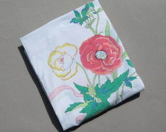 Double Flat Sheet Fowers & Ribbons Vintage Bedsheet Cutter for Fabric Project Bright Sunny Design