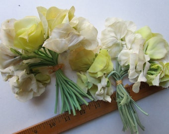 36+  Chartreuse Yellow  Ivory Silk Flowers Vintage 1950s  Millinery Hat Trims