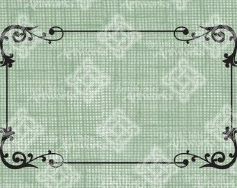 Digital Download, Flourish Swirl Simple Border or Frame, Rectangle, Digital Stamp, DigiStamp, Iron on Transfer, transparent png