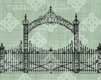 Digital Download, Cemetery Gate, Halloween, Spooky Scary, Transparent png, Digi Stamp, Vintage Antique Illustration, Iron on Transfer