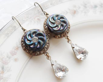 Vintage  Glass Rhinestone Button Earrings