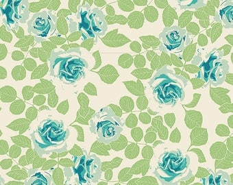 Pruning Roses Water - Cultivate - Art Gallery Fabrics - Modern Cotton Quilting Fabric - Bonnie Christine - CUL-9678 - Roses Blue Green