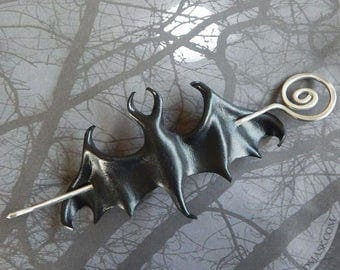 Leather Bat Barrette with Handcrafted Wire Spiral Hair Stick - Shawl Pin or Hair Slide in Your Choice of Color - Medium Size