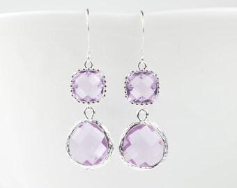 Long Lavender Silver Earrings, June Birthstone Silver Earrings, June Light Amethyst Earrings, June Birthstone Jewelry, Bridesmaid Gift