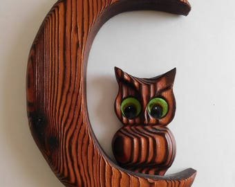 Carved Wood OWL on Crescent MOON Wall Plaque