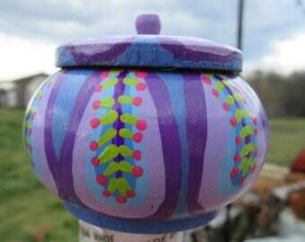 Handpainted Tiny Wood Keepsake Treasure Box petal series #6 blue violet