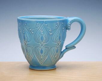 Aqua mug w. Sky blue detail, Victorian mod Stamped cup