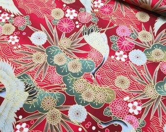 Golden Cranes in red Japanese cotton fabric 1600-97B
