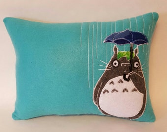 OOAK TOTORO RAIN Teal My Neighbor Totoro felt craft Pillow