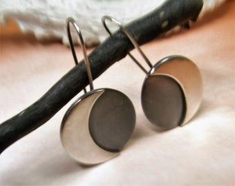 Large Sterling Silver Moon Earrings, Sterling Silver Earrings, Contemporary Dangle Earrings, Simple Moon Jewelry, Modern Minimalist Jewelry