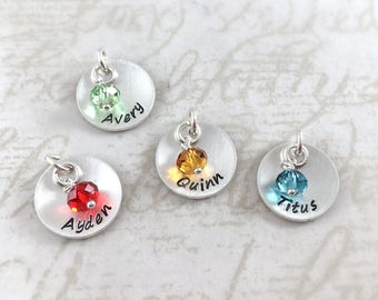 Valentine's gift, custom handmade sterling silver name charm with birthstone, hand stamped with custom name, personalized charm