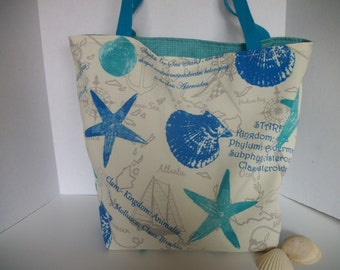 Starfish Beach Tote, Reversible Outdoor fabric, Diaper bag, Market tote