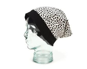 Animal Print Black and Cream Slouchy Beanie Hat