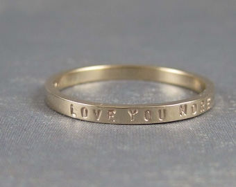 Love You More ring, inscribed gold ring, 10k gold ring, solid gold ring, ready to ship in size 7.75 or 8, gift for her, I love you ring,