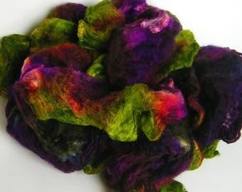 Mawata Silk Hankies FANTAGASM Hand Painted Silk Hankies KNITPACK 42 gram pink purple green Knit Spin Fusion Felt Crafts