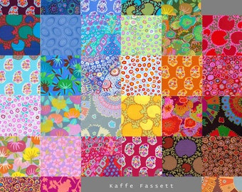32 Different Kaffe Fassett Fabric Charm Square Pack - Prewashed, Rotary cut