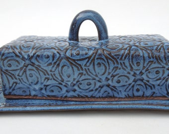 Dark Blue Tin Roof Handmade Textured Ceramic Pottery Covered Butter Dish with Lid