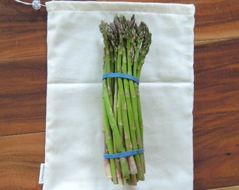 Organic Cotton Produce Bags, Drawstring, Small, Medium, Large, Natural