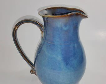 Blue Pottery Pitcher - Wheel Thrown and Altered