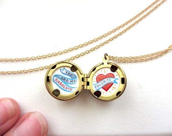 You are My Favorite - Tiny Original Painting In Locket Necklace