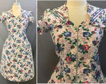 Vintage 1950's White Floral Cotton Day Dress Simplicity Frock