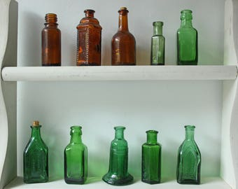 Instant Collection of 14 antique vintage emerald green and brown bottles - home decor