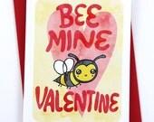Bee Mine Valentine - Valentines day card funny valentine card boyfriend card husband card for girlfriend valentine puns cute valentine card