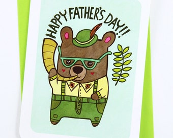Lederhosen Bear Dad -Papa Bear Card Father's Day Card for Dad Awesome Dad Card Cute Fathers Day Card Dad Card Happy Fathers day Grandpa Card