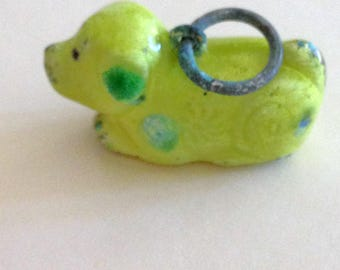 Vintage Yellow Gold Enamel Pug Dog Charm